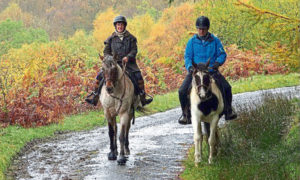 Perthshire horse rider Karen Inkster on Monty and Paul Murton on Connie.