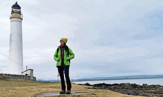Gayle explores the area near Scurdie Ness lighthouse.