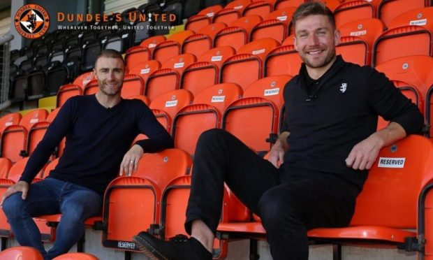 Dundee United legend Sean Dillon and his DUTV co-star Ally Heather.
