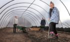 Food is Free Carnoustie volunteers Pauline Marr, Laura Tierney and Laura -May Kennedy in the new polytunnel.