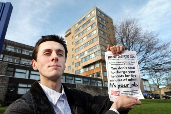 Dundee Student Renters Union is launching a campaign to end charges for tenancy references Picture shows; The union's Jake Mace