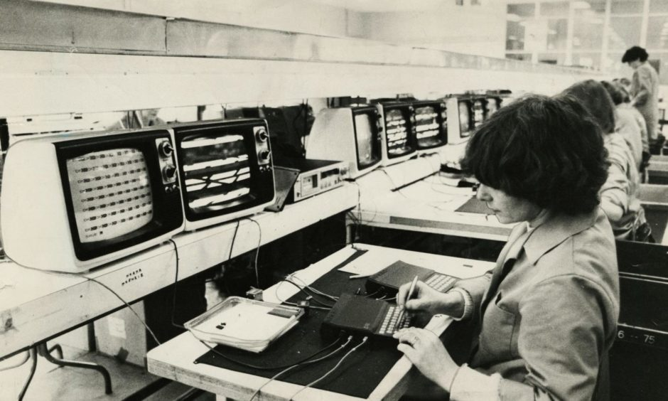 The final testing bench for the Sinclair computer at the Dundee Timex factory.