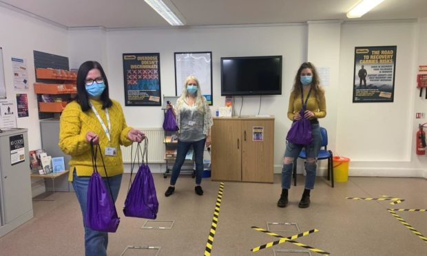 Hillcrest's harm reduction team with the pandemic hygiene packs.