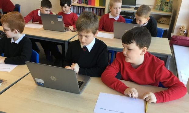 Warddykes P4 pupils back in the class putting the finishing touches to the film project.