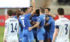 Israel's first half goal celebrations.