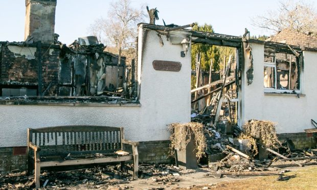 The bungalow at Logierait was left a burnt out shell