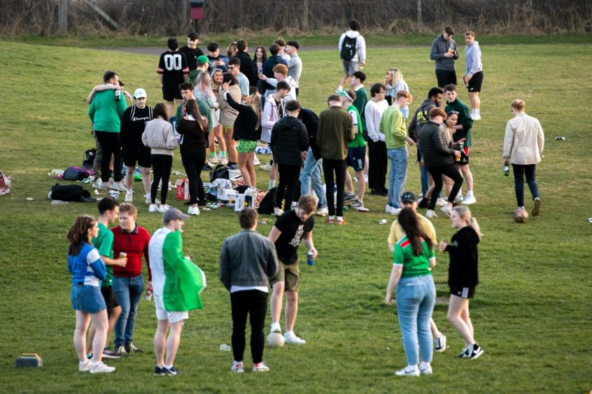 Young people gathered at Magdalen Green.