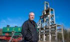 Tom Kinnaird, Benarty Community Council chairman, at the foot of historic Mary Pit Head winding tower.