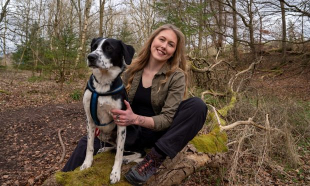 Leah Farquharson with her dog, Blue.