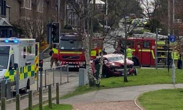 Crash at Kirkton Road, Burntisland, Fife.