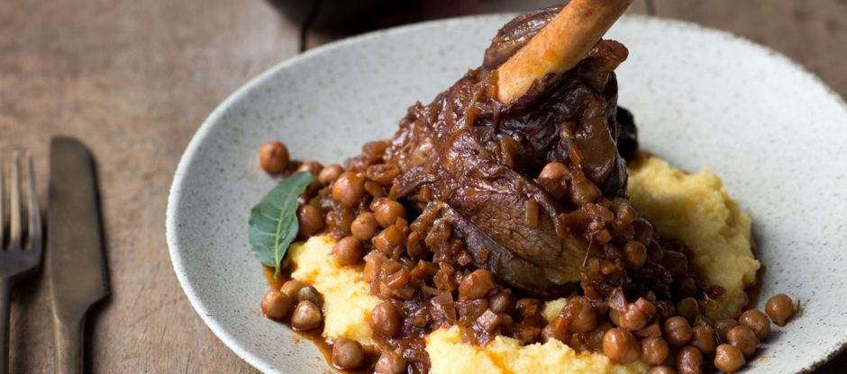 Slow-cooked mutti Moroccan lamb shanks.