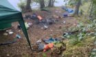 Abandoned campsite of dirty campers at Loch Tummel.
