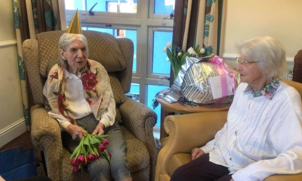 """Balhousie Pitlochry resident Margaret Burns celebrated her milestone birthday with friend and fellow resident Janet """"Jenny"""" Macmillan."""