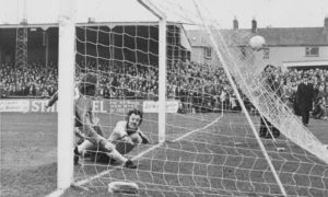 Malcolm Lowe pounces for Montrose to score the first goal against Hearts in the first game at Links Park in 1976.