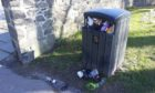 Overflowing bins in Perth city centre