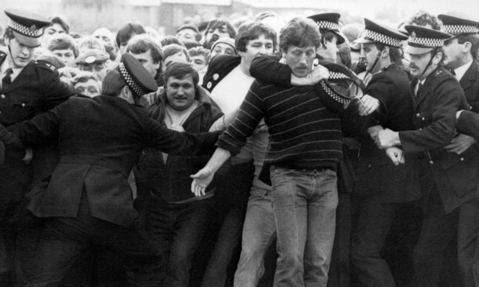 Police and pickets clash outside the Bilston Glen pit, near Edinburgh, in the miners strike in 1984.
