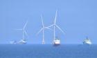 Wind turbines off Aberdeen Harbour.