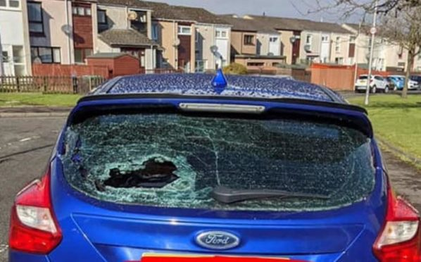 One of the damaged vehicles ia wave of anti-social behaviour and vandalism across Rosyth.