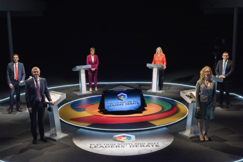 Scottish political party leaders in BBC debate, 30th March 2021 / Credit: PA