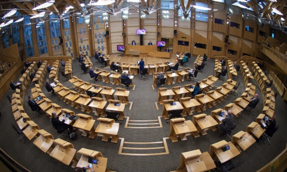 The main chamber of the Scottish Parliament.