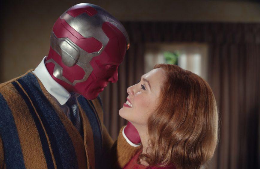 Wandavision: Paul Bettany as Vision and Elizabeth Olsen as Wanda.