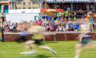 Sprinters race across the finish line at the 2019 Burntisland Highland Games.