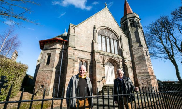 David Jerdan and Dennis Gowans from Crail Community Partnership outside the community hall.