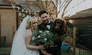 Danielle Paton Strang, Richard Strang and dog Bailey.