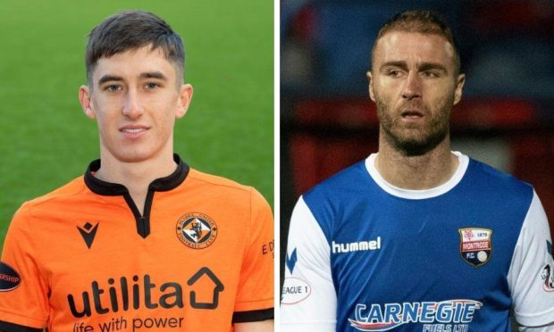 Dundee United midfielder Chris Mochrie and Montrose player-coach Sean Dillon.