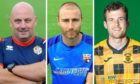 Cowdenbeath manager Gary Bollan, Montrose player-coach Sean Dillon and East Fife winger Danny Denholm.