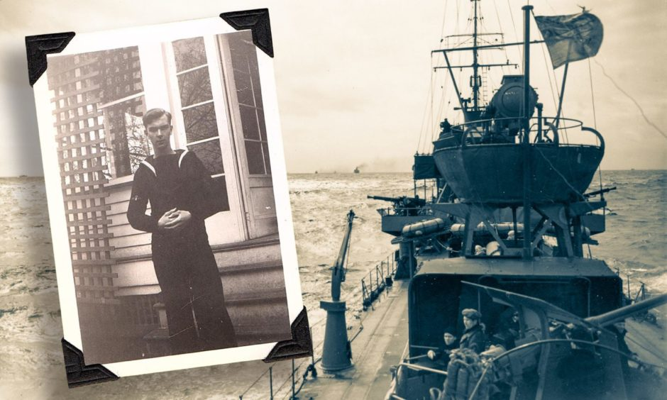 A vessel taking part in the Atlantic convoys during the Second World War, inset, sailor Reginald Cooper.