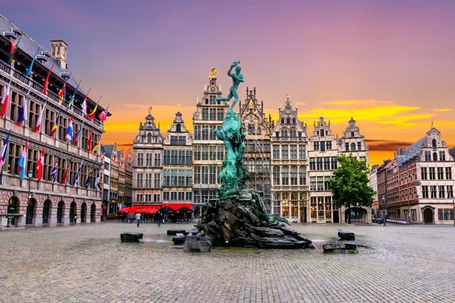Brabo fountain on Market square, Antwerp.