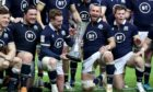 The Scots celebrate with the Auld Alliance trophy after their win in Paris.