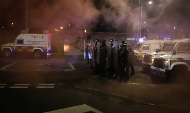 Loyalists in conflict with PSNI in Tiger's Bay area of North Belfast on Friday night.