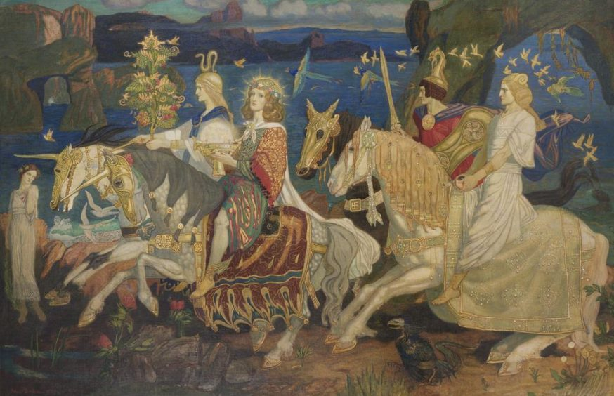 The Riders of the Sidhe by John Duncan (tempera on canvas, 1911) is in Dundee's McManus Galleries.