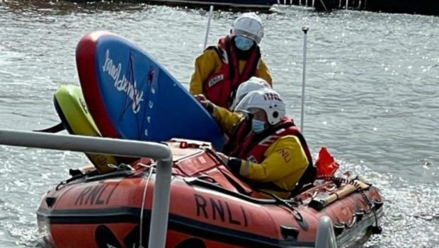 Broughty Ferry RNLI volunteers rescued the paddleboarders.