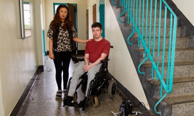 Erin Mullen and Ben Dryden at their flat in Arbroath.