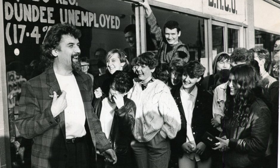 Crowds greeted Billy Connolly when he opened the new premises of the Dundee Resources Centre for the unemployed in November 1985.