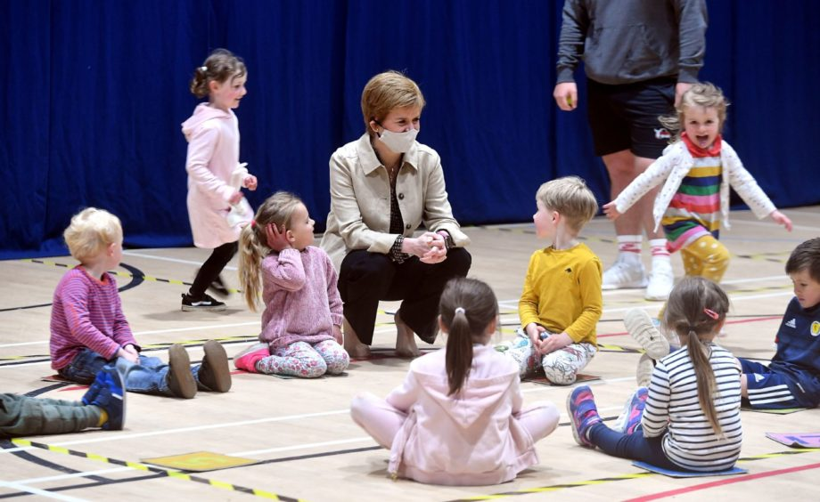 Nicola Sturgeon on the campaign trail in Insch.