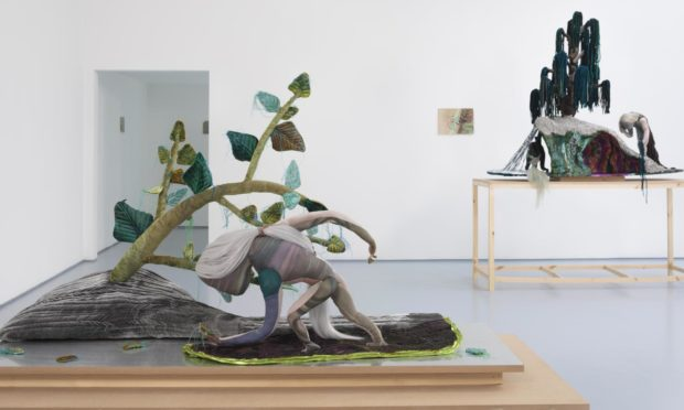 Emma Talbot, Ghost Calls, 2021. Installation view at Dundee Contemporary Arts. Photograph by Ruth Clark.