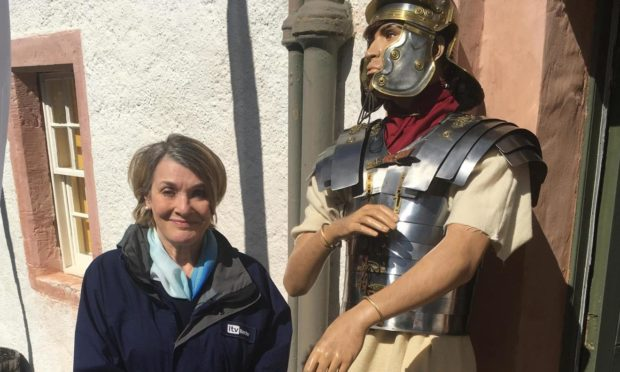 Fiona at the Roman fort at Trimontium, near Melrose.
