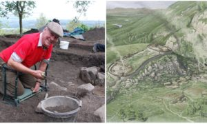 Dave MacDougall of Dunkeld and Birnam Historical Society at King's Seat hillfort alongside an artist's impression of the site by Chris Mitchell.