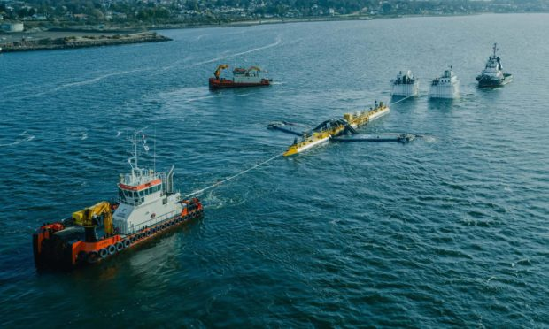 Orbital's O2 tidal turbine launched from the Port of Dundee.