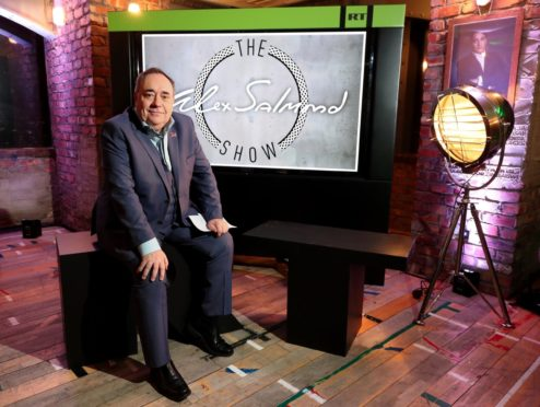 Alex Salmond during the launch of his RT chat show The Alex Salmond Show. PA.
