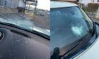 Multiple cars were damaged after rocks were thrown at vehicles exiting the M90 at Rosyth.