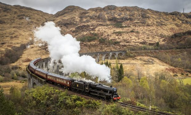 The famed Glenfinnan Viaduct can be seen from the road to Mallaig