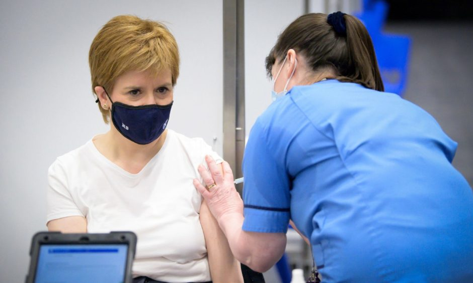 First Minister Nicola Sturgeon receives Covid-19 vaccine.