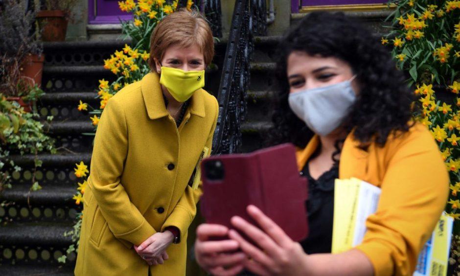 Nicola Sturgeon on the campaign trail.