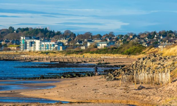 Monifieth beach, where 50 youths gathered at the weekend.