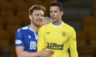 See you on Sunday - Liam Craig with Rangers goalkeeper Jon McLaughlin after the final whistle blows.